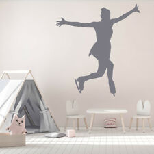 Female Figure Skater Skating Trick Ice Skating Wall Sticker Gym Sports Art Decal