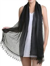 "RECTANGLE BLACK, LIGHTWEIGHT SCARF,SHAWL WRAP,SARONG,CAPE,ONE SIZE 66""X17""-122"