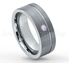 0.07ct Amethyst Ring, Brushed Pipe Cut Tungsten Ring, February Birthstone #030