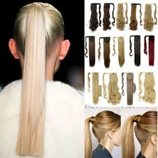 US 100% Real New Clip In Lady Hair Extension Pony Tail Wrap Around Ponytail llk