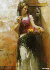Hand Painted Portrait Oil Painting on Canvas Art Decor pino daeni beautiful girl