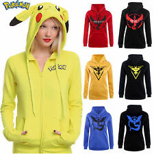 Pokemon Go Pikachu Womens Hoodie Sweatshirt Casual Hooded Coat Jacket Hoodies