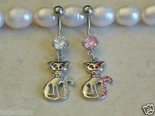Prong Set Gem Navel/Belly Ring  with Cubic Zirconia Eyes Cat Dangle.