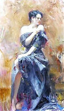 Handcraft Impression Portrait Oil Painting on Canvas,Pino Daeni Sexy woman II