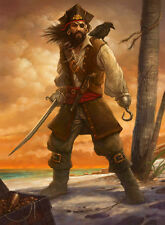 Hand-painted Portrait Oil Painting Wall Art on Canvas,The pirate captain jack