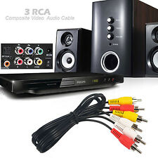 Video 3 RCA Composite Video Audio A/V AV Cable Gold Plated