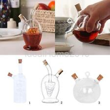 2-Outlet Glass Olive Oil Dispenser Jar Vinegar Bottle Pot Kitchen Sauce Cruet