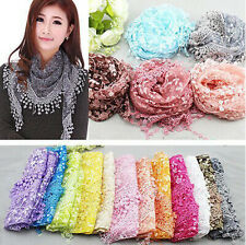 Fashion Women Tassel Lace Floral Knit Triangle Mantilla Scarf Shawl Wrap Scarves