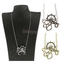 Vintage Crystal Rhinestone Octopus Anchor Steampunk Pendant Necklace Jewelry