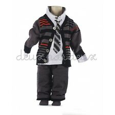 NWT  Deux par Deux Neige Boys Three Piece Set with Cardigan Pants Shirt 5 6 7 10