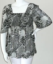 Yummy Plus Floral Kimono Style Smock Empire Top Blouse Black White Plus 1X 2X 3X