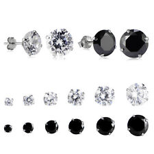 Black/Clear Stainless Steel Round Cubic Zirconia Ear Studs Earrings Set