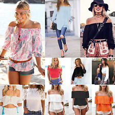 Summer Women Sexy Off The Shoulder T-Shirt Casual Boho Tops Blouse Tee UK 6-14