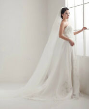 1 Tier Chapel Floor Length Veil Cut Romantic Edge Bridal Wedding Ivory & White
