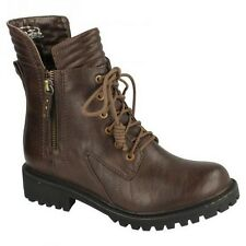 Spot On Womens/Ladies Lace Up Military Style Boots
