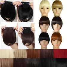 100 Real Natural Hair Extension Clip In Front Hair Bangs Fringe Remy Thick Hair
