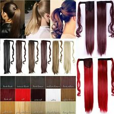 Clip In Pony Tail Hair Extensions Wrap Around Ponytail Straight Curly Hiar TT10
