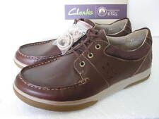 NEW CLARKS WAVE WALK WAVE CAMP PACE BROWN LEATHER SHOES SIZE 6/40
