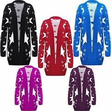 Ladies Women Plus Size Open Knitted Cardigan STARS Print TOP Coat Long Sleeves