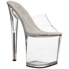 PLEASER Womens Platform Slide On Sandals UV Tubes Clear Party Heels FLAMINGO-801
