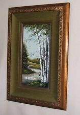Oil Painting of Landscape, Birch Trees and Stream, signed Patti Rock