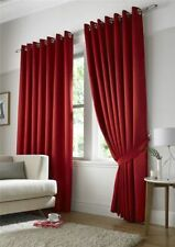 RED MICRO DOT SPOTTY FULLY LINED RING TOP CURTAINS DRAPES 9 SIZES