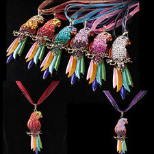 Sweater Chain Full Pendant Necklace Parrot New Crystal Rhinestone Colorful