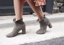 Suede Leather Ruffle Trim Edge Ankle Booties Shoes Black or Pink