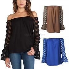 Sexy Women Off Shoulder Shirt Blouse Long Sleeve Casual Shirt Tops Plus Size NEW