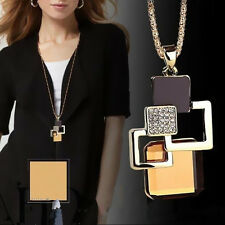 Fashion Geometric Necklace Pendant Hollow Jewelry Golden Women Crystal Stone