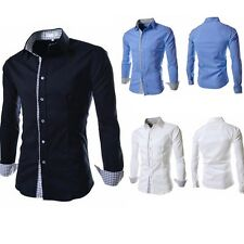 Fashion Mens Luxury Stylish Casual Long Sleeve Dress Shirts Slim Fit Shirts S2U