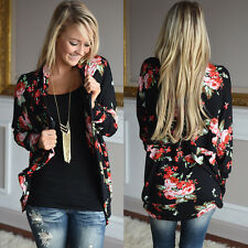 Womens Outwear Floral Irregular Long Sleeve Wrap Cardigans Casual Boho Coat Top
