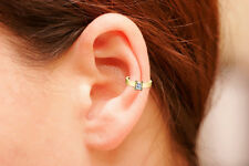18K Gold Ear Cuff with Princess Cut CZ, Non Pierced Ear Cuff, Ear Wrap