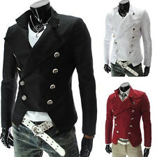 Men's European Style Double-breasted Casual Lapel Slim Suit Blazer Coats Stylish