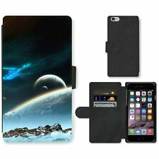 Phone PU Leather Wallet Case For Apple iPhone Universe Planets Digital Art