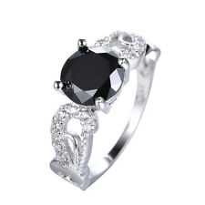 Black Sapphire Round  Band 10KT White Gold Filled Engagement Gift Ring Size 6-11