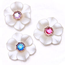 10/50pcs Charms Jewelry White Acrylic Colorful Rhinestone Flower Spacer Beads J
