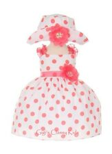 New Baby Girls White & Coral Polka Dot Dress S-XL  Wedding Pageant Easter 1002C