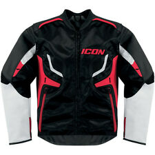 NEW ICON COMPOUND LEATHER ADULT MOTORCYCLE STREET MEN'S JACKET BLACK RED LARGE