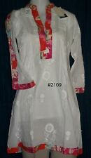 Kurti Tunic Shirt Blouse 2107 White Cotton Kameez Shieno Sarees Pleasanton