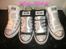 CRYSTAL CONVERSE BLING CUSTOMISED TRAINERS.TOWIE,ALL SIZES & COLOURS,BABY- ADULT