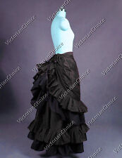 Victorian Edwardian Black Pleated Bustle Skirt Steampunk Theater Clothing K034