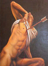 Hand-painted male Portrait Oil Painting Wall Art on Canvas,NUDE MALE 24x36inch