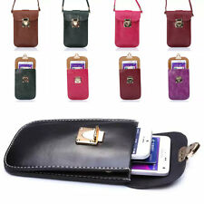 Universal Handbag PU Leather Three Pocket Purse Bag Pouch Cover Case For iPhone