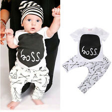 2pcs Toddler Kids Baby Boy Girls T-shirt Tops+Long Pant Sets Trousers Outfits