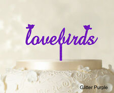 Love Bird Wedding Cake Topper Custom Cake Topper Peosonalize Glitter Cake Topper
