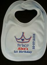 Personalised Baby Gifts - Baby Bibs- PRINCE/PRINCESS  FIRST Birthday Any name