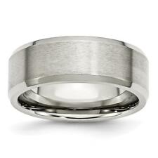 Chisel Stainless Steel Flat Beveled Edge 8mm Brushed and Polished Band Ring SR11