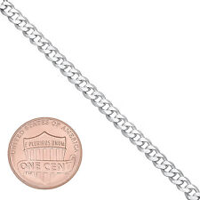 3.7mm Solid 925 Sterling Silver Beveled Cuban Curb Link Italian Chain