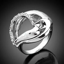 14K Platinum Plated Silver-tone Ring,Crystal Hollow Heart Size 6-8